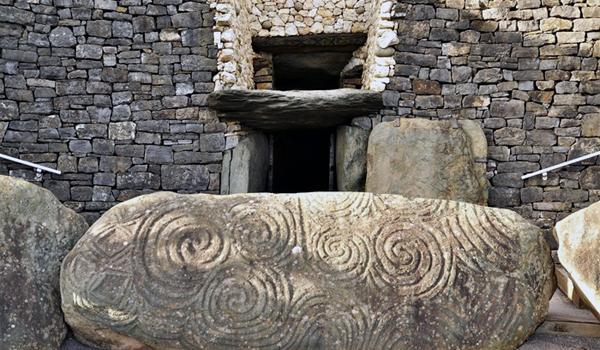 Newgrange - 5,000 Year Old Tomb of the Irish High Kings - Sunlight That Enters on the Winter Solstice Lights up the Tomb