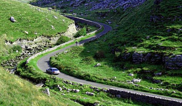 Scenic Winding Road in the Burren, County Clare