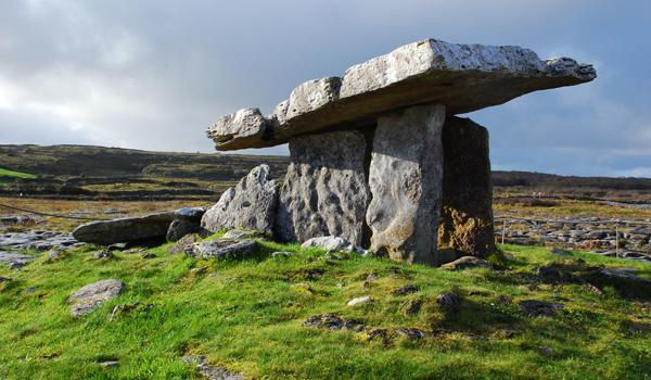 The 5000 year-old Poulnabrone Dolmen, found at the Burren, County Clare.
