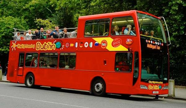 Red Double-Decker Hop-On Hop-Off Sightseeing Bus in Dublin