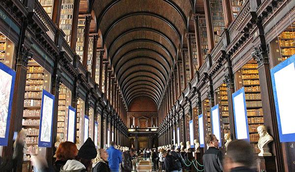 The Trinity College Library, home to the famous illuminated Book of Kells manuscript.