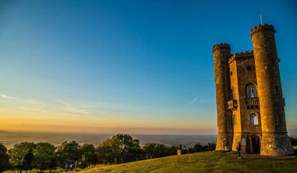Broadway Tower overlooking the village of Broadway - The Cotswolds' highest castle
