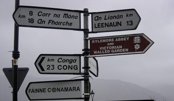 A misty street sign in Connemara