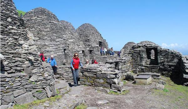 Ancient Beehive Huts on the Skellig Islands in County Kerry