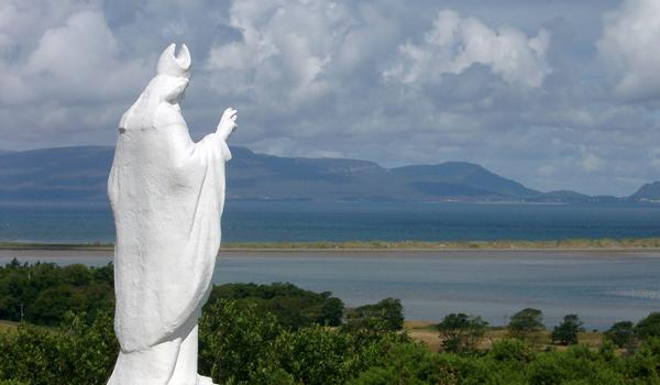St Patrick statue located at the foot of Croagh Patrick Mountain near Westport