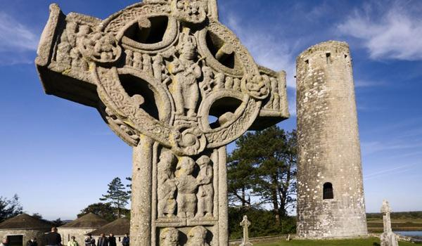High Cross and Round Tower at 6th Century Clonmacnoise