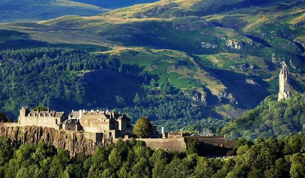 Stirling Castle with the Wallace Monument visible to the right