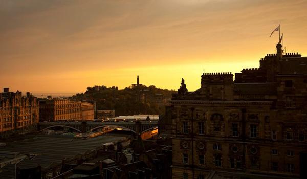 View over the City of Edinburgh from Calton Hill.