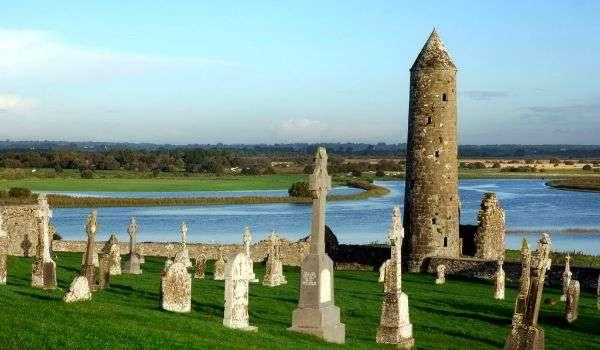 Ruins of Clonmacnoise, sixth-century university and early Christian Settlment