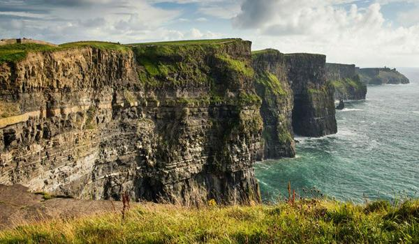 Close up view of cliffs of moher rocks with water in them
