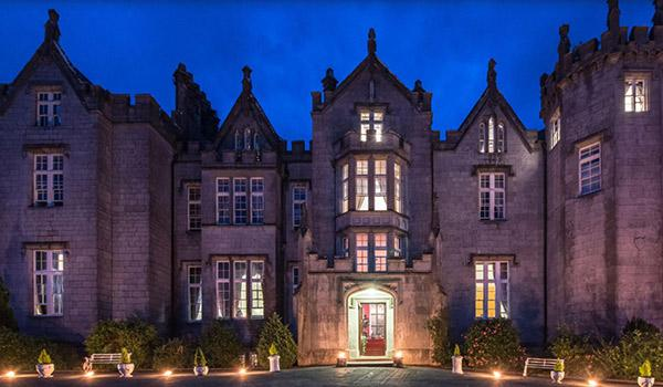 Kinnitty Castle Hotel outside view at night